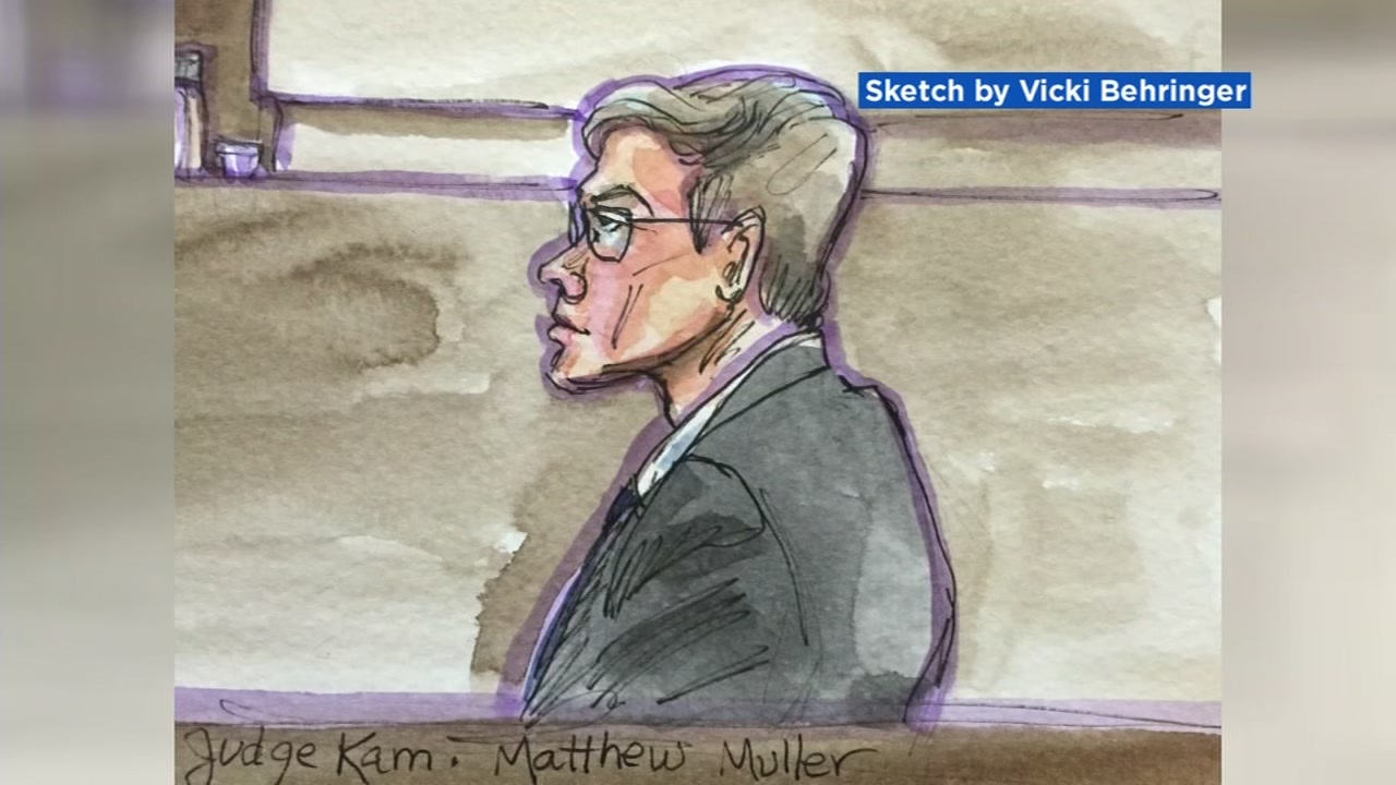 A courtroom sketch shows Matthew Muller in Solano County Superior Court in Vallejo, Calif. on Wednesday, Feb. 13, 2019.