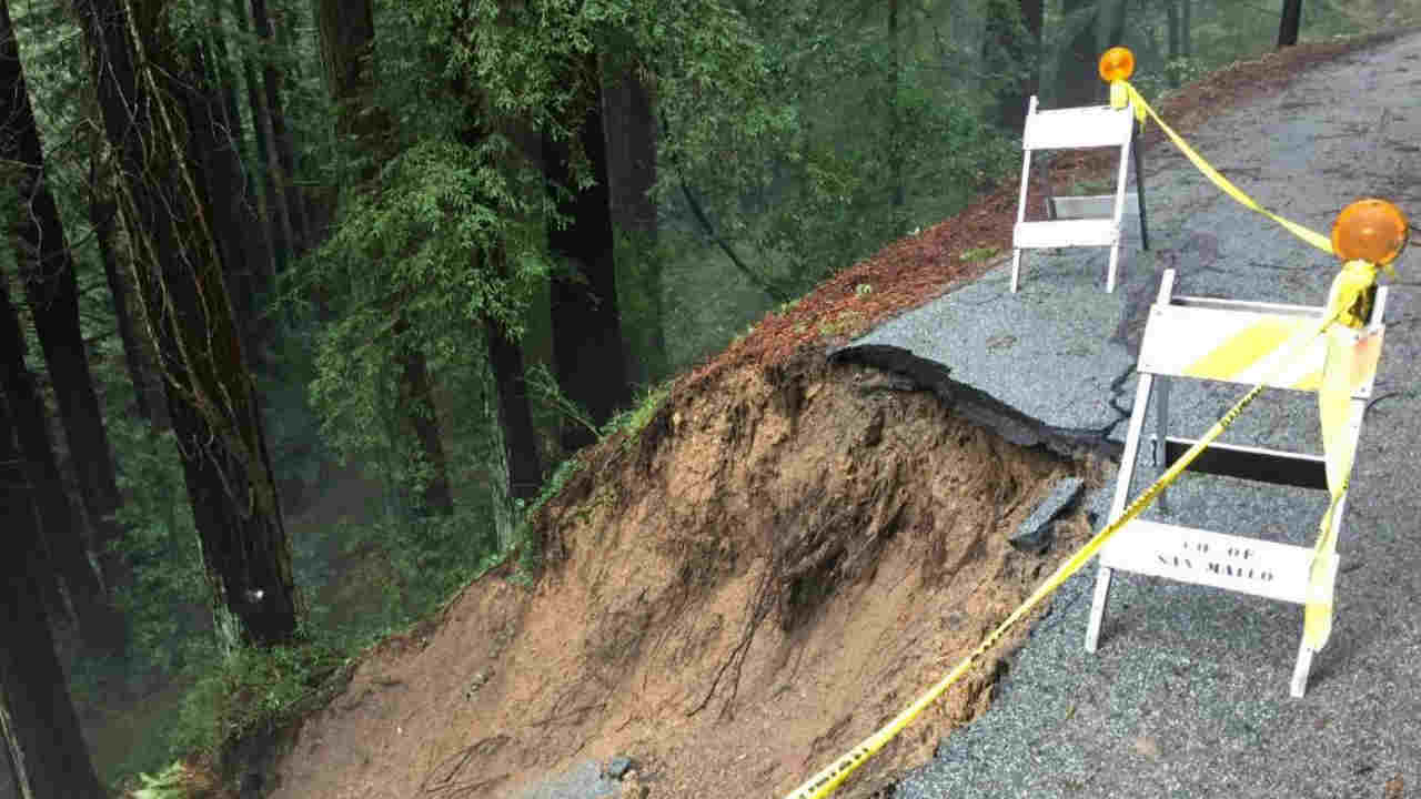 A landslide is seen on Old La Honda Road in San Mateo County on Wednesday, Feb. 13, 2019.