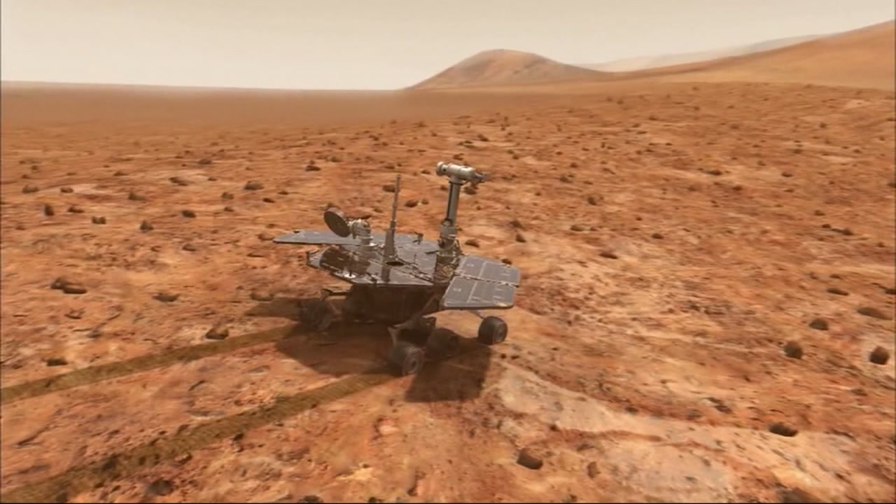 This undated image shows NASAs rover, Opportunity, on Mars.