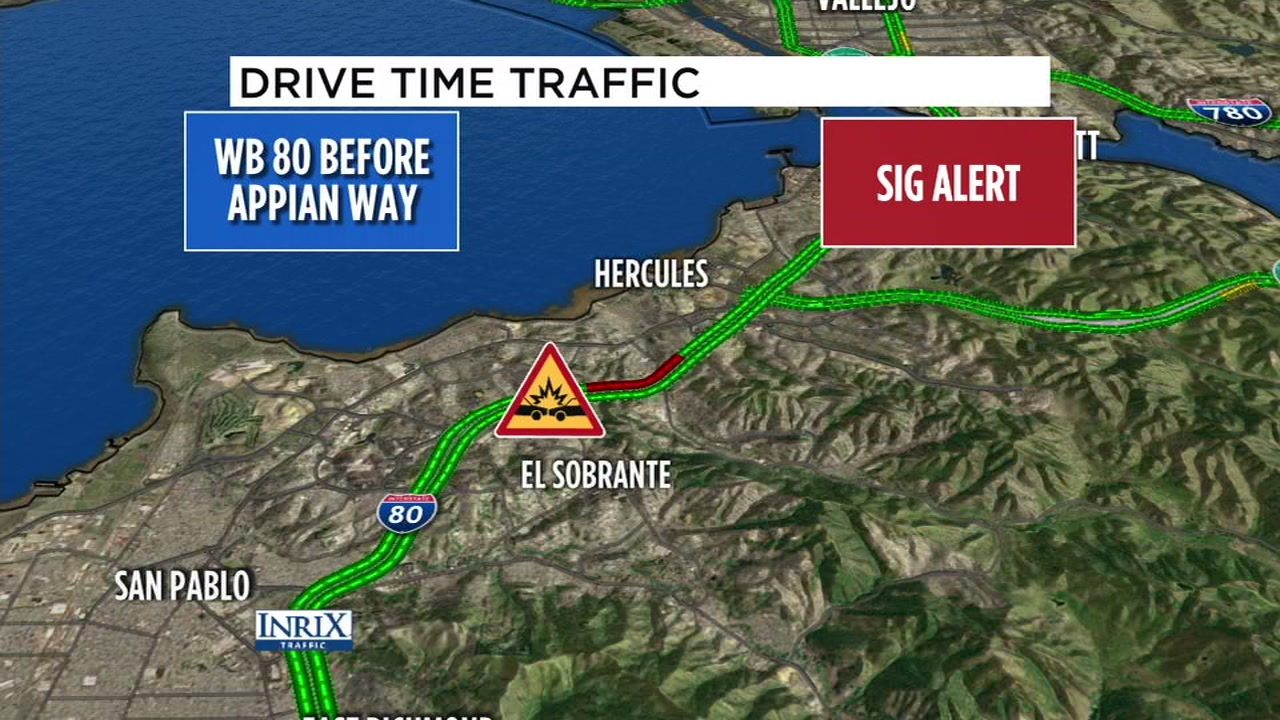 Westbound I-80 was closed on Monday, Feb. 18, 2019 due to a multi-car crash in Pinole, Calif.