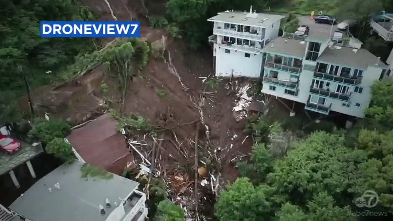 DRONEVIEW7 shows mudslide damage in Sausalito, California on Thursday, February 14, 2019.