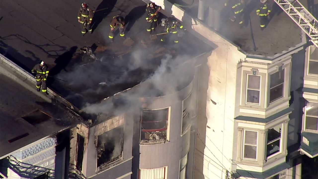 Crews battled a house fire in San Francisco on Monday, Feb. 18, 2019.