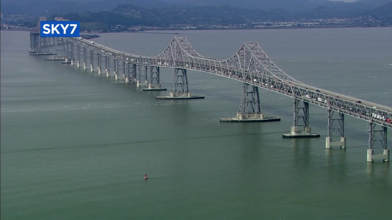 This undated image from SKY7 shows the Richmond-San Rafael Bridge.
