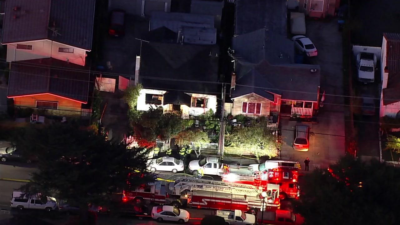 SKY7 was over a deadly fire in San Mateo, Calif. on Tuesday, Feb. 19, 2019.
