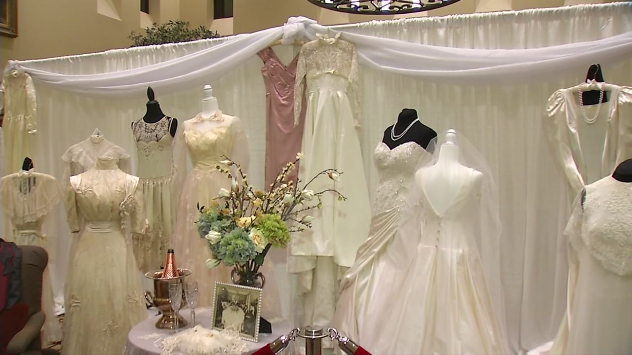 Wedding gowns are on display at a retirement community in Pleasanton, Calif.