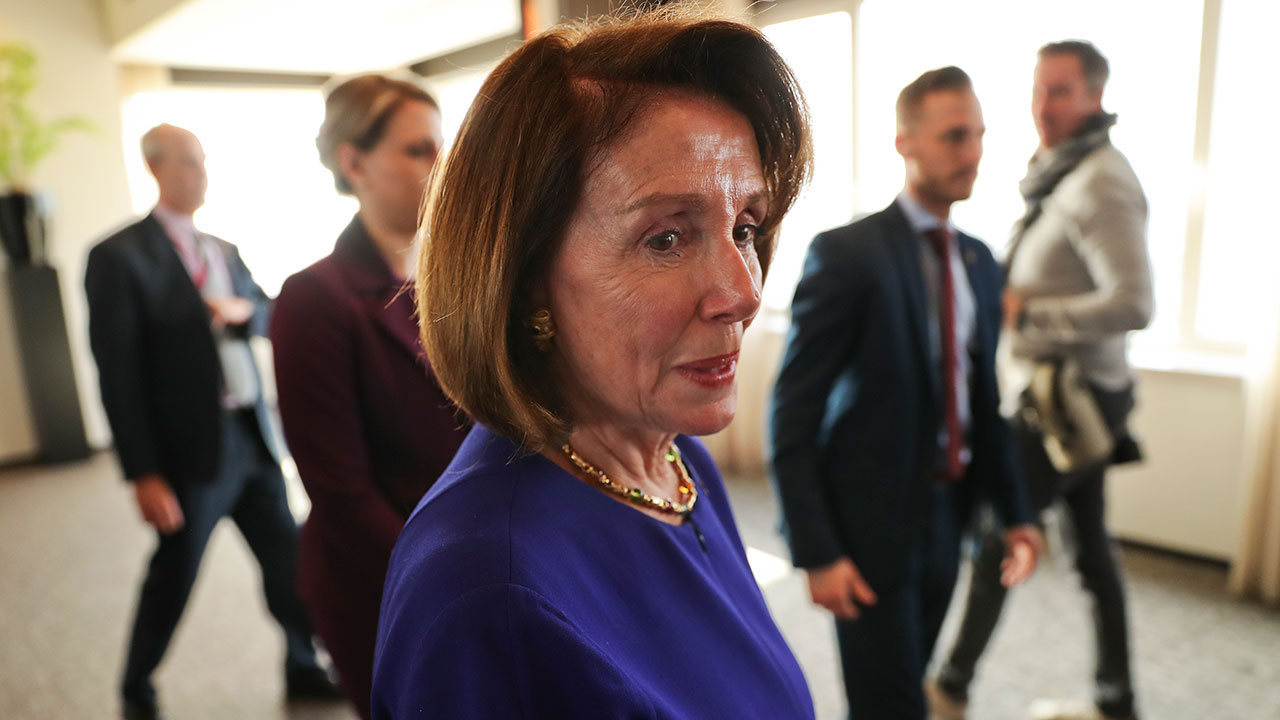US Speaker of the House Nancy Pelosi leaves after a press conference in Brussels, Tuesday, Feb. 19, 2019.