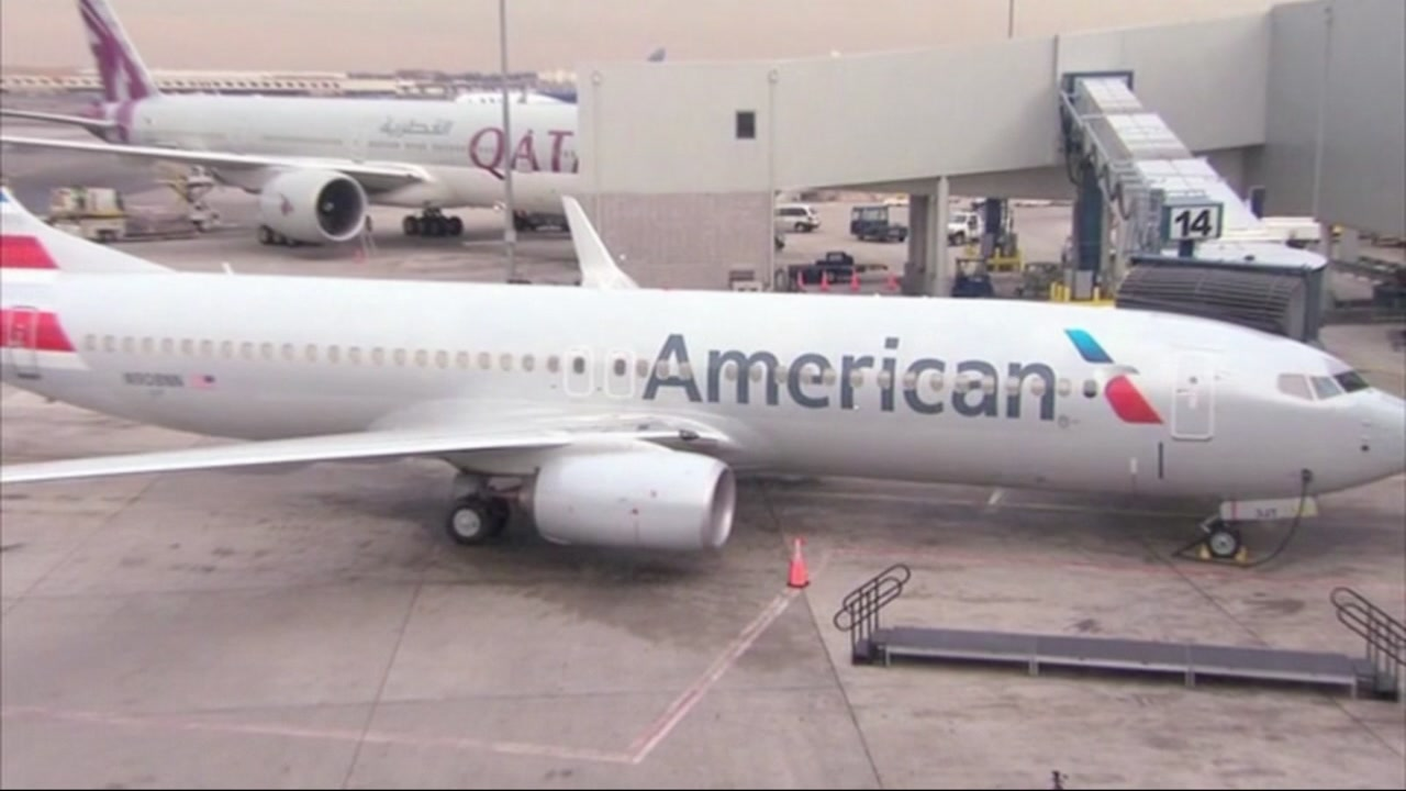 An American Airlines flight is pictured.