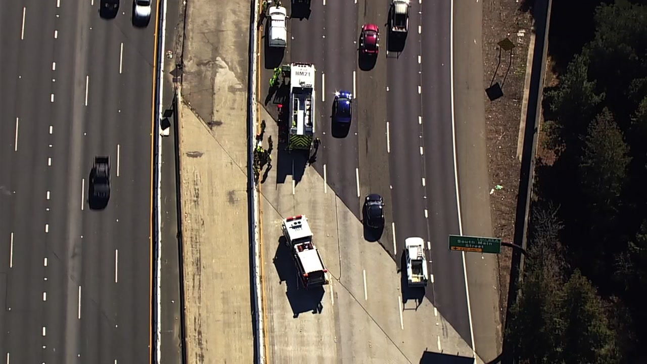SKY7 is over a hazmat situation on I-680 in Walnut Creek, Calif. on Thursday, Feb. 21, 2019.