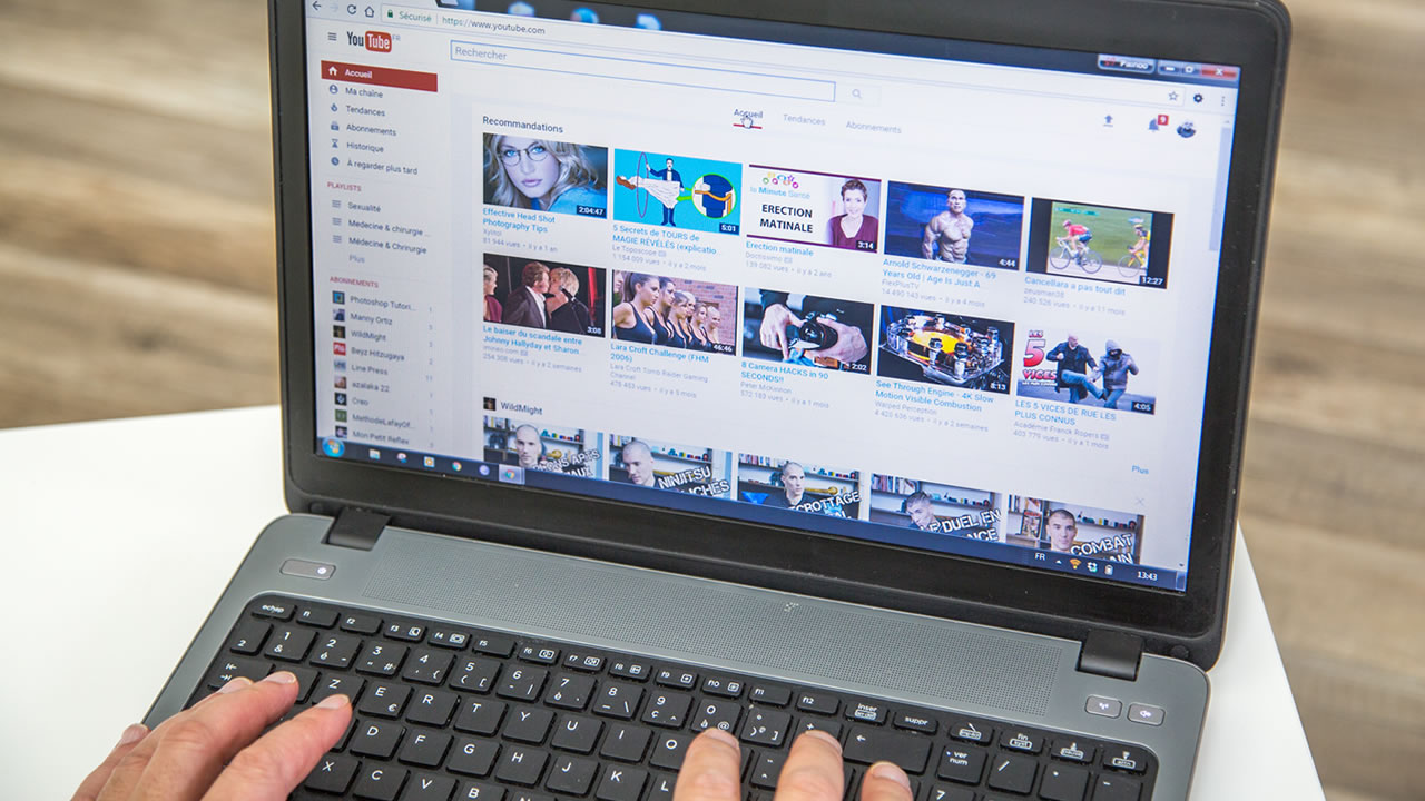 This generic picture shows a computer screen and YouTube website.