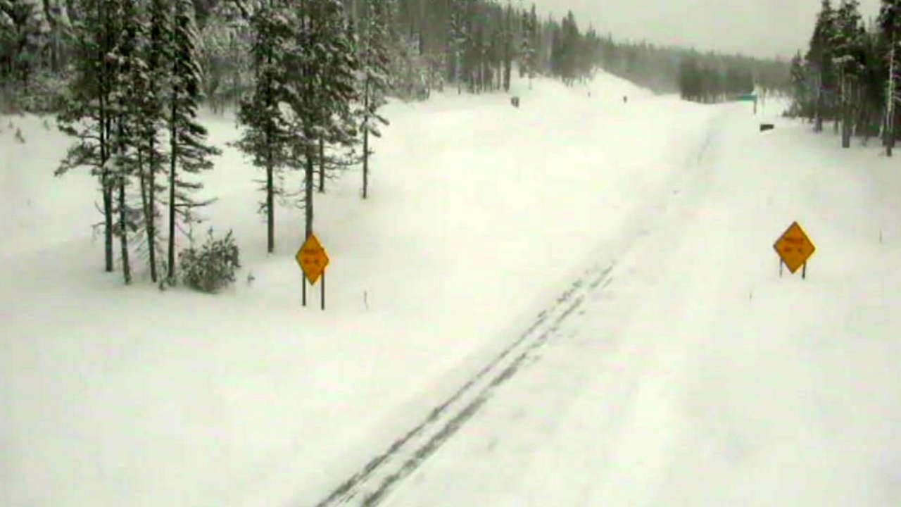 Snow is seen on I-80 at Donner Summit in Nevada County, Calif. on Sunday, Feb. 10, 2019.