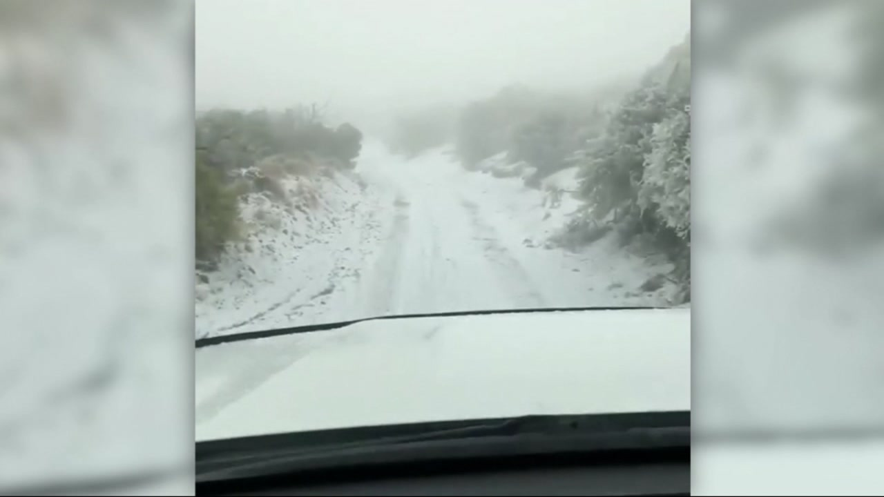 Snow is seen after falling at the lowest elevation ever recorded in Hawaii on Monday, Feb. 11, 2019.