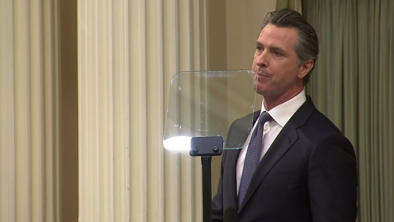 California Governor Gavin Newsom is seen during his State of the State address in Sacramento on Tuesday, Feb. 12, 2019.
