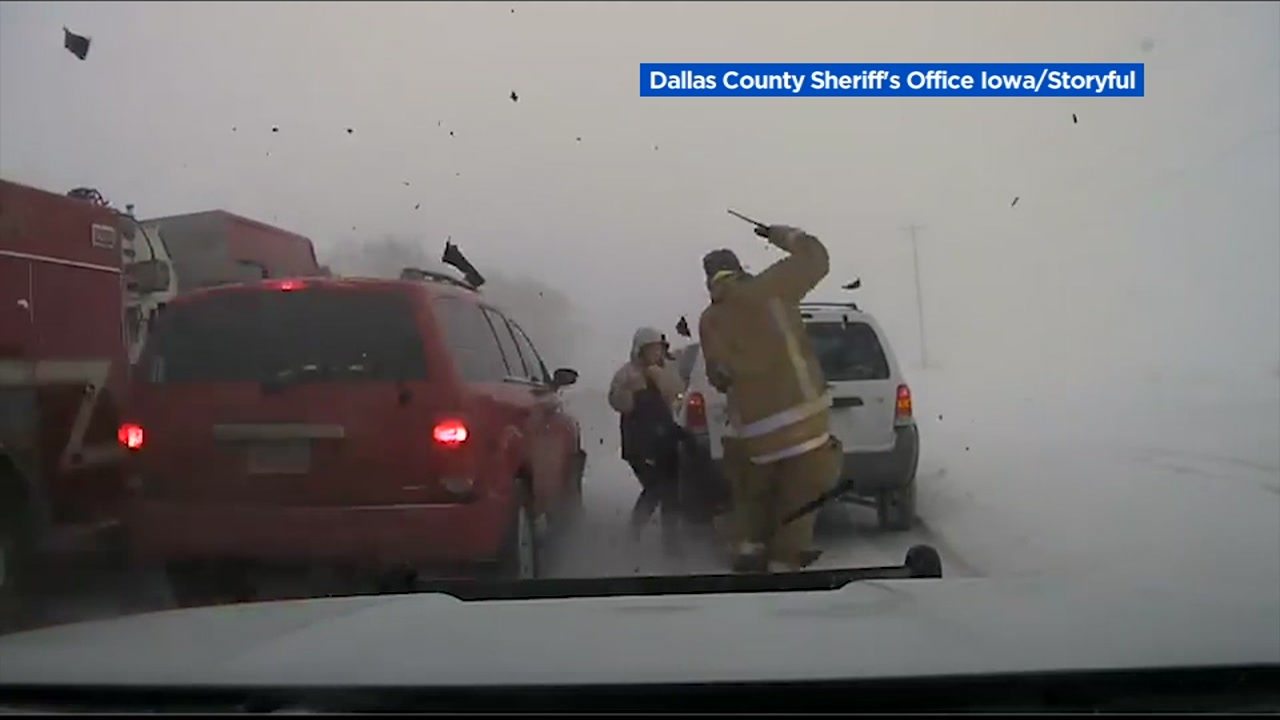 A Dallas County Sheriffs Deputy is seen narrowly avoiding an out-of-control vehicle in this undated image.
