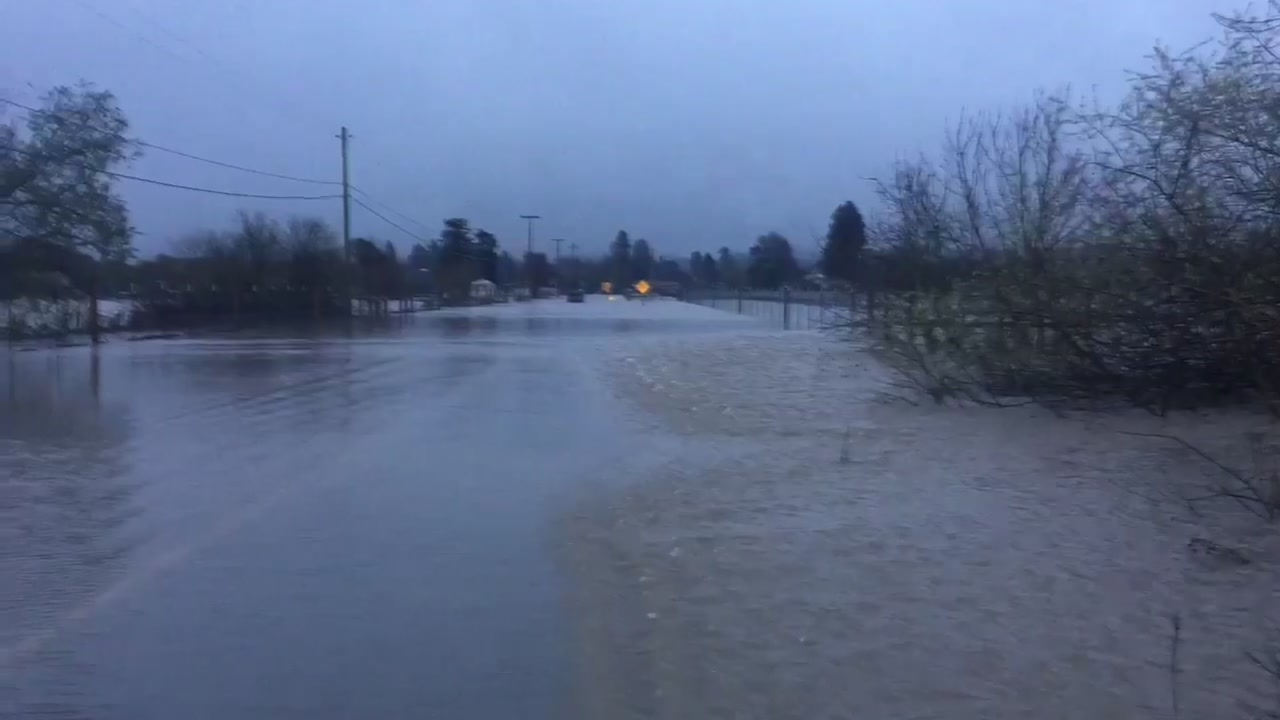 A flooded road is seen in Santa Clara County on Wednesday, Feb. 13, 2019.
