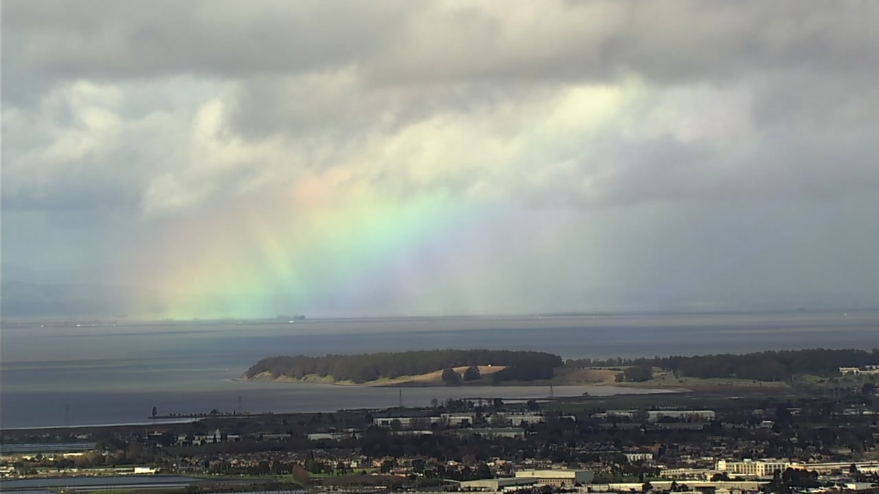 This image shows a rainbow in Marin County, Calif. on Thursday, Feb. 14, 2019.