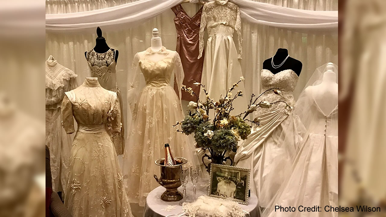This image shows vintage wedding gowns at the Stoneridge Creek retirement community on Thursday, Feb. 14, 2019 in Pleasanton, Calif.