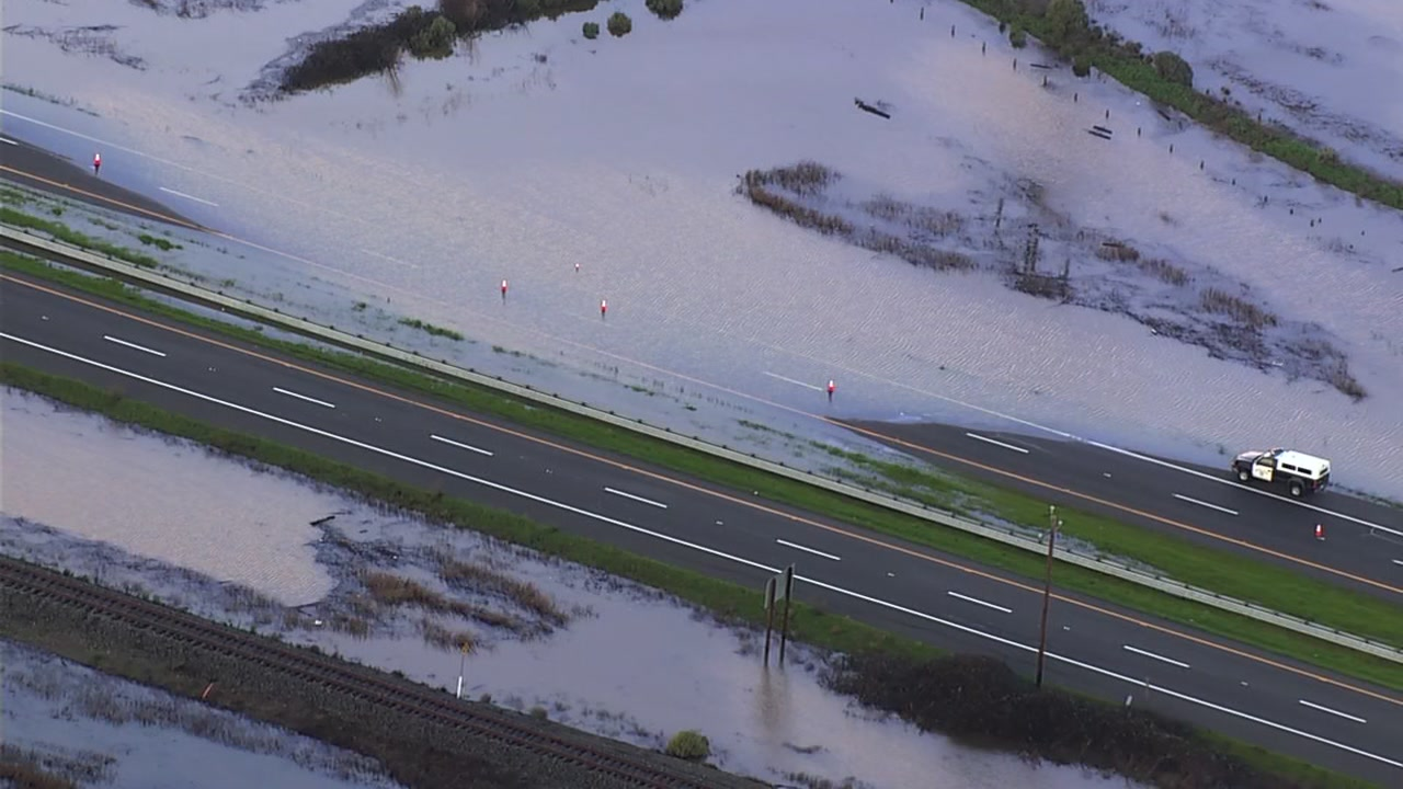 Flooded Highway 37 in Novato, California on Friday, February 15, 2019.