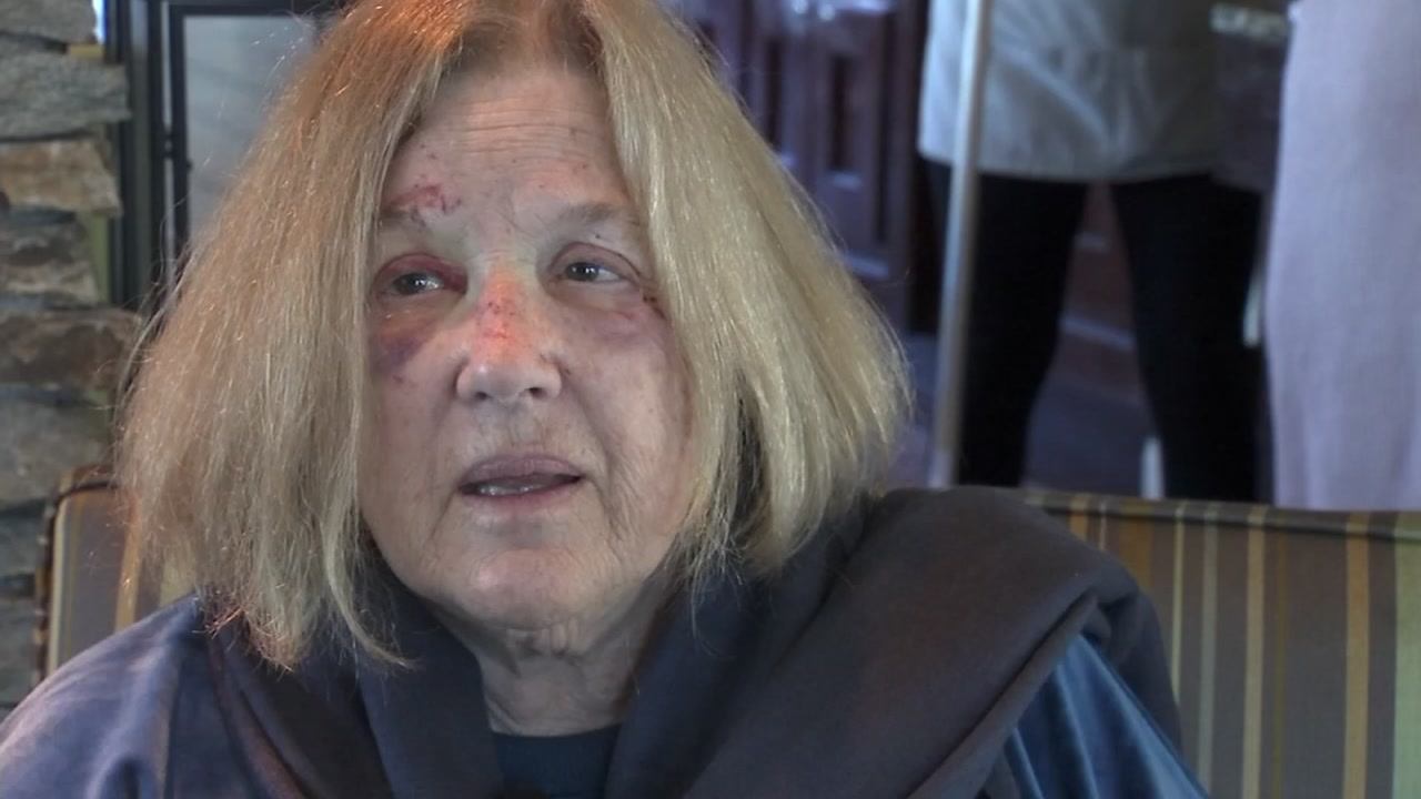 This image shows mudslide survivor Susan Gordon on Saturday, Feb. 16 as she describes the moments of terror in Sausalito, Calif.