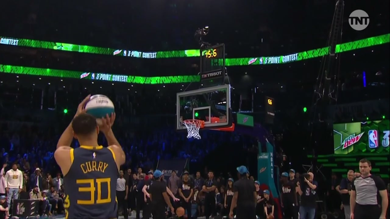 Stephen Curry is seen shooting a 3-pointer during the NBA All-Star 3-Point contest on Saturday, Feb. 16, 2019, in Charlotte, N.C.