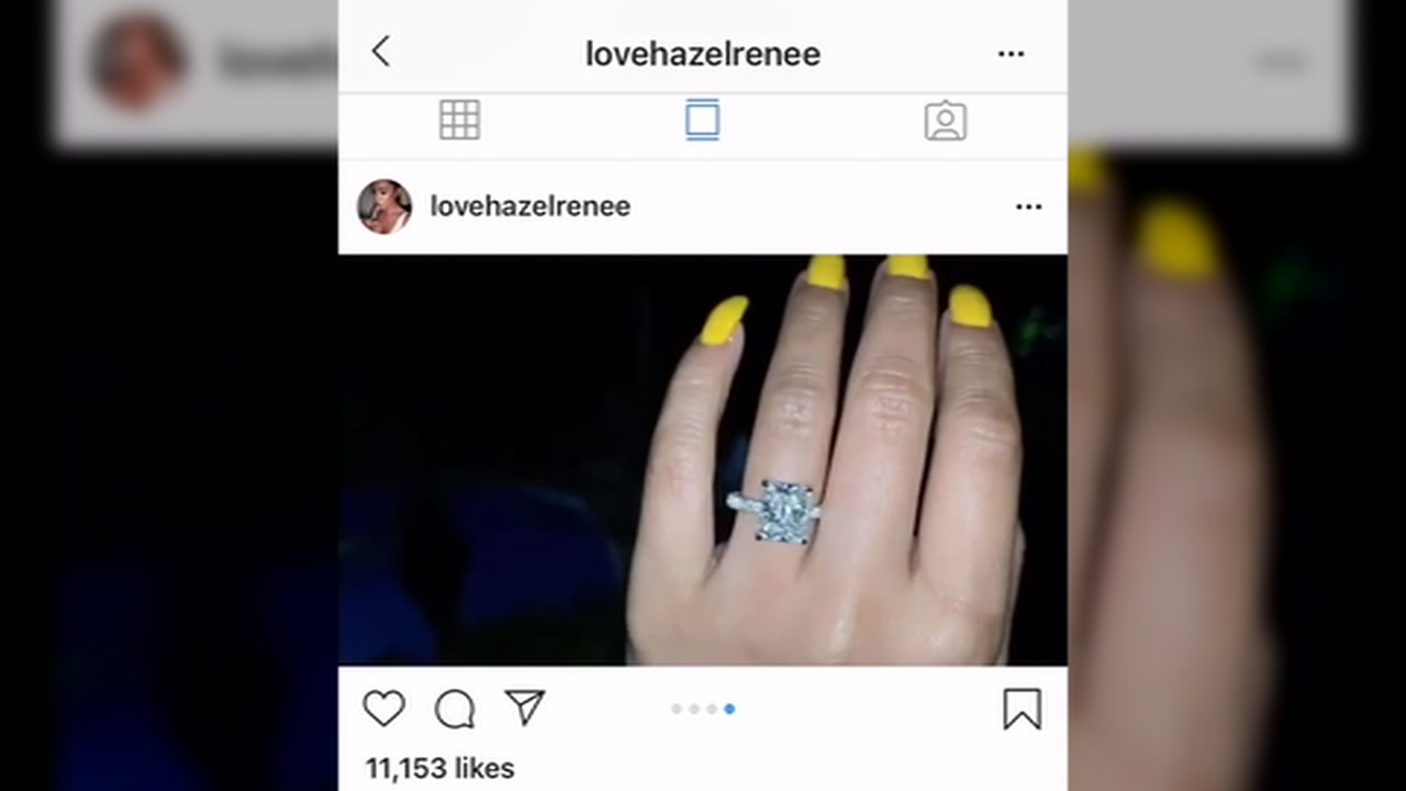 Hazel Renee is seen showing off her engagement ring from Golden State Warriors star Draymond Green in this undated image.