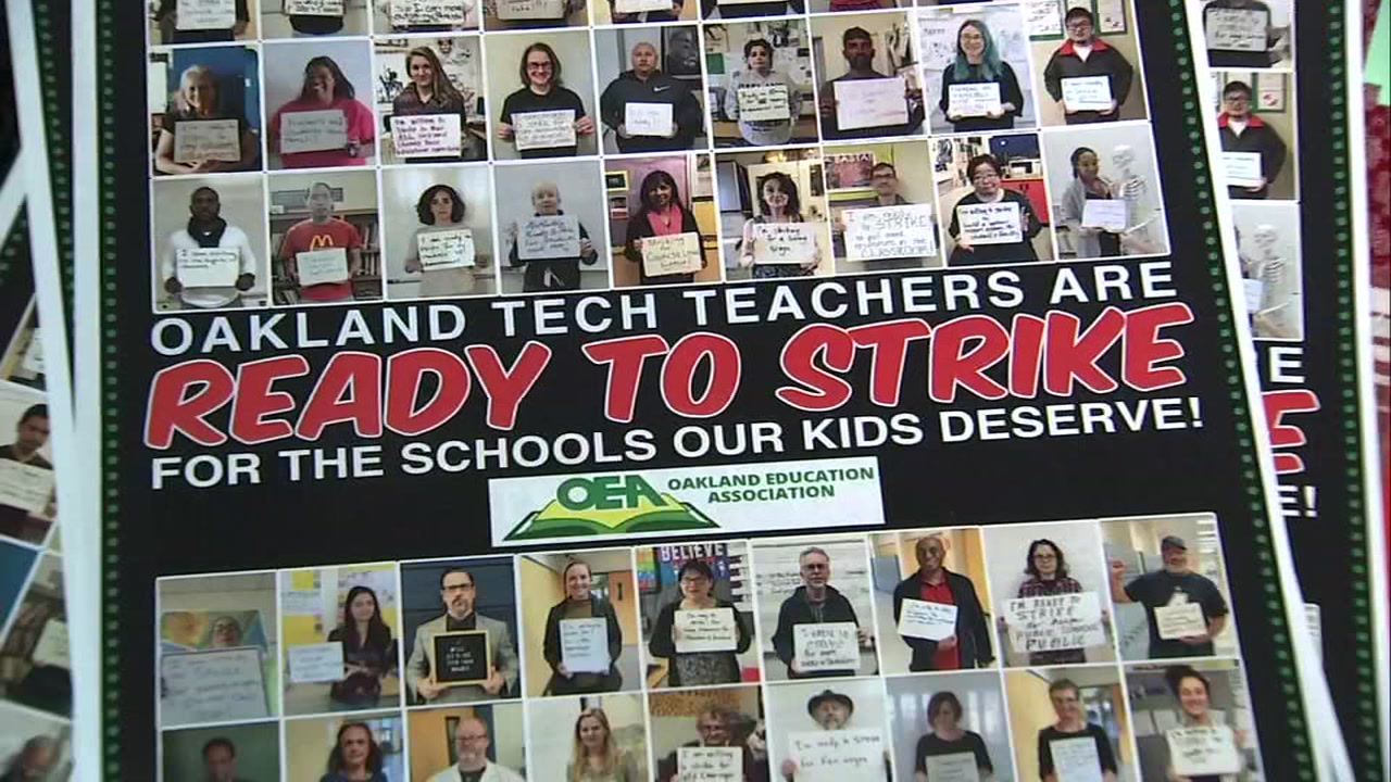 A sign indicating Oakland teachers are ready to strike is seen in this undated image.