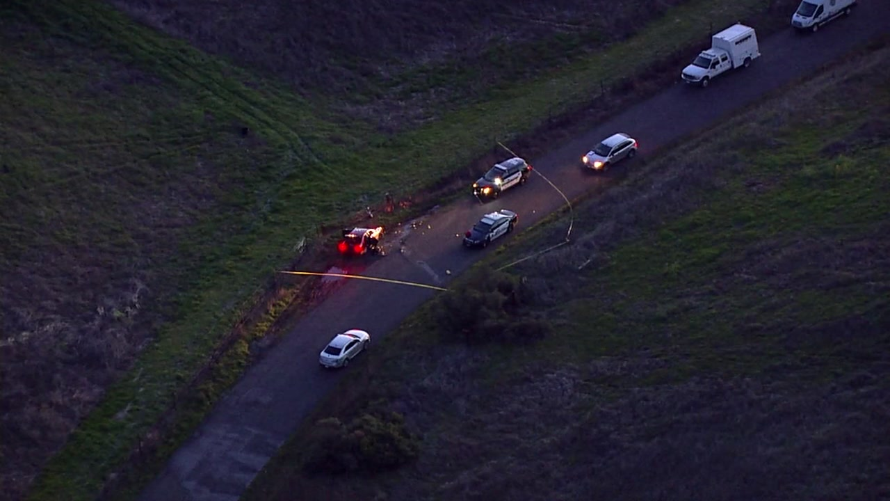SKY7 is over the scene of an officer-involved shooting in Napa County, Calif. on Monday, Feb. 18, 2019.