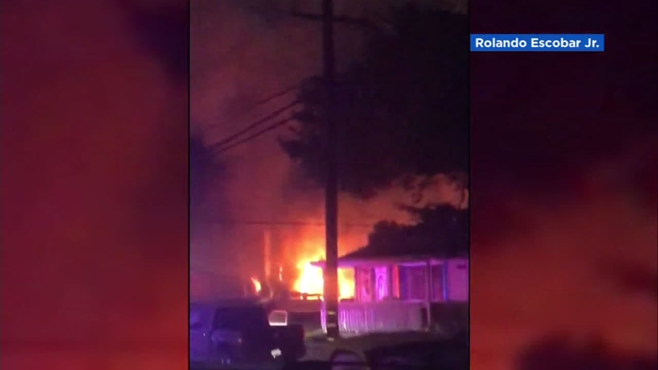 Cellphone video shows a fire in San Mateo, Calif. on Tuesday, Feb. 19, 2019.