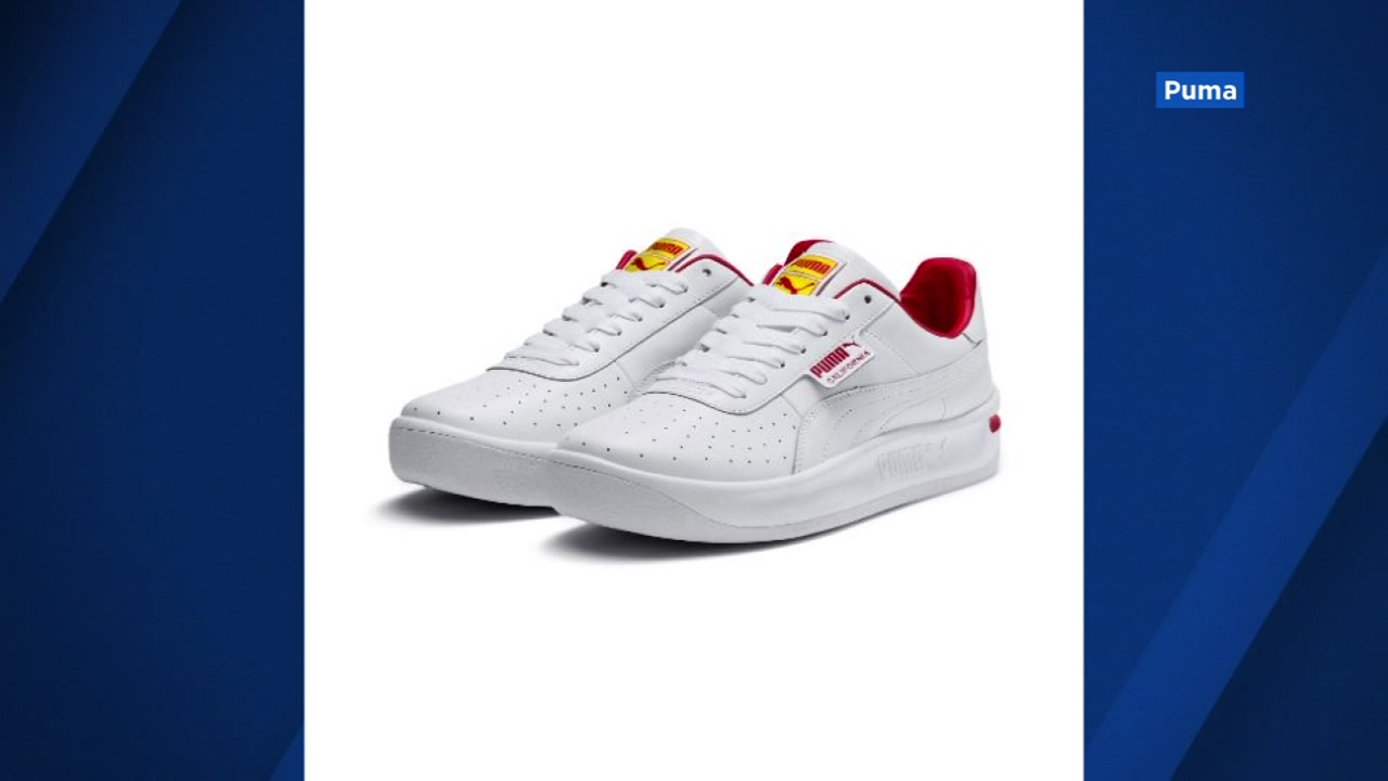 Puma sneakers that appear to be inspired by In-N-Out Burgers colors are seen in this undated image.