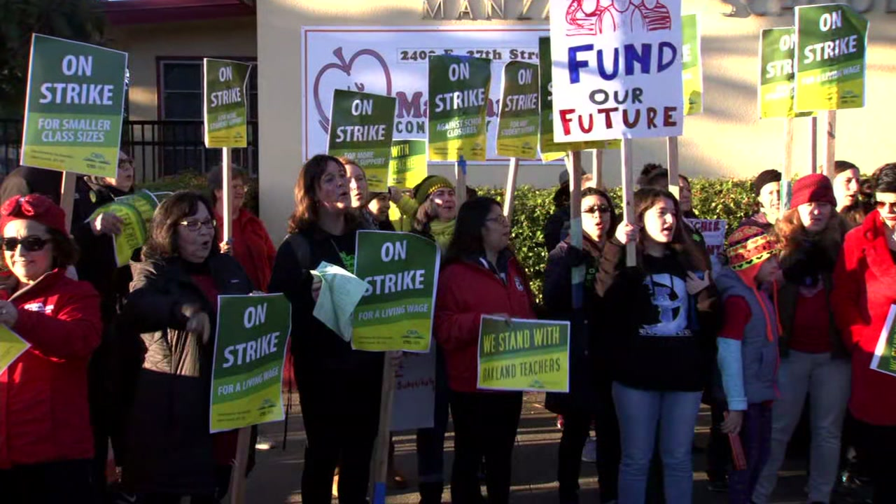 Teachers strike at Manzanita School in Oakland, Calif. on Thursday, Feb. 21, 2019.