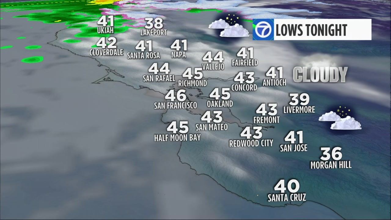 Sunday features lots of clouds throughout the day. There may even be an isolated, light sprinkle in the North Bay.