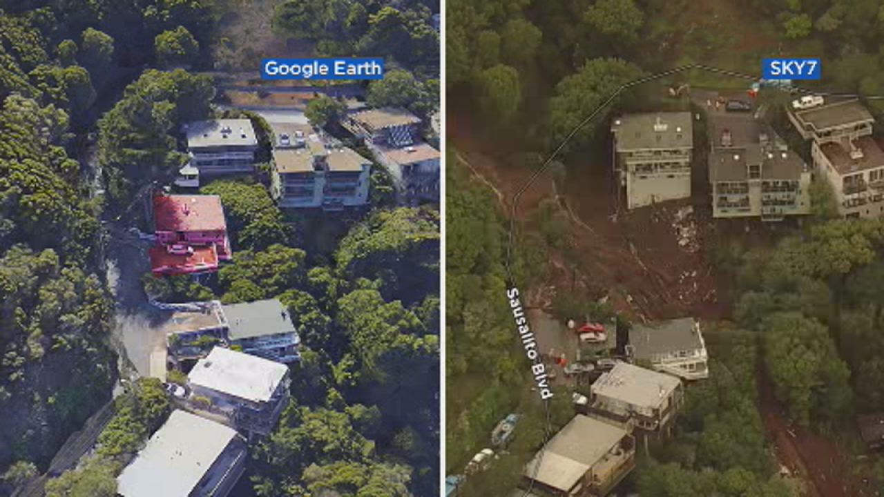 This before and after image shows what a Sausalito hill looked like before a mudslide destroyed a home on Feb.14.
