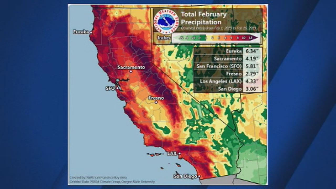 This image shows total February Precipitation from Feb. 1 to Feb. 16.