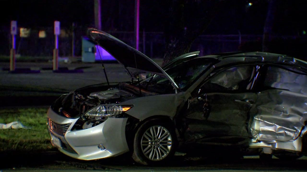 An elderly woman leaving the home of a family member was killed in a car accident Saturday evening in southwest Houston.