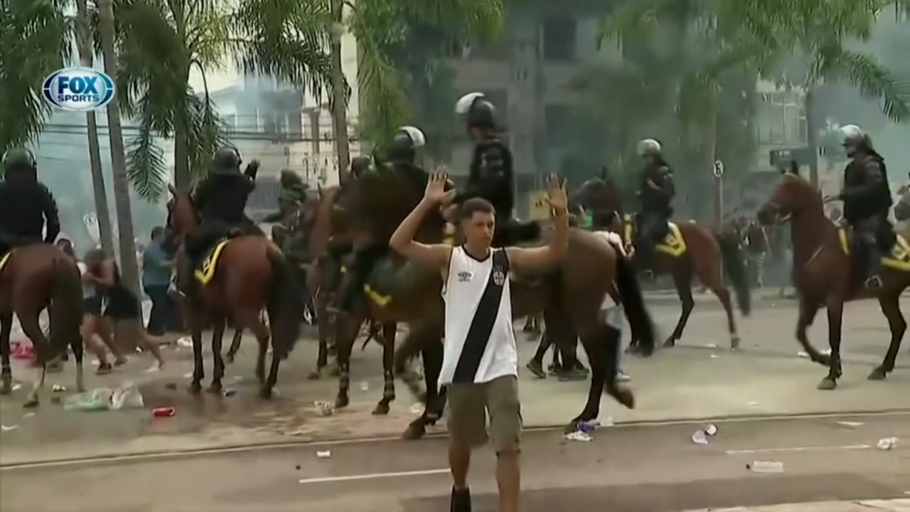 Tense moments were caught on camera outside a soccer match in Rio de Janeiro.