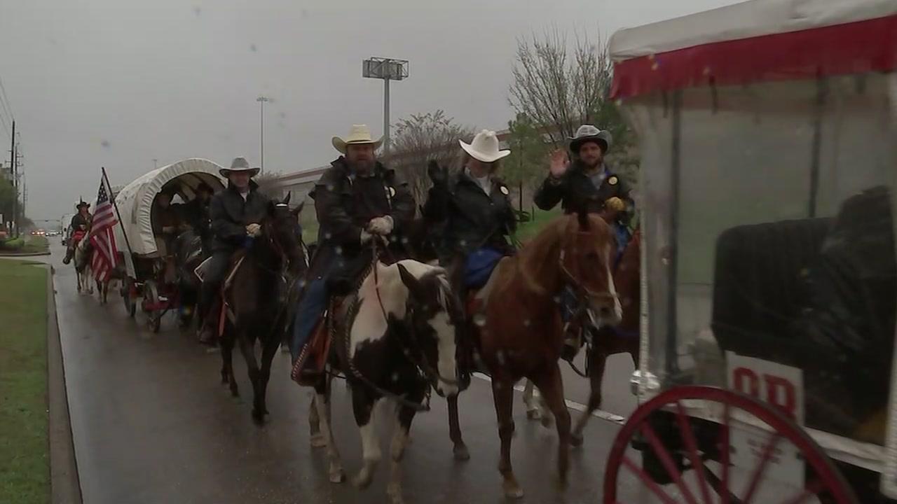 A car struck a horse in the Sam Houston trail ride.