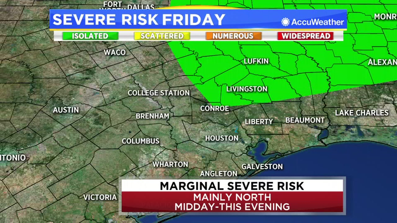 Elita Loresca said theres a marginal severe risk for storms, mainly to our north starting midday and lasting until the evening.
