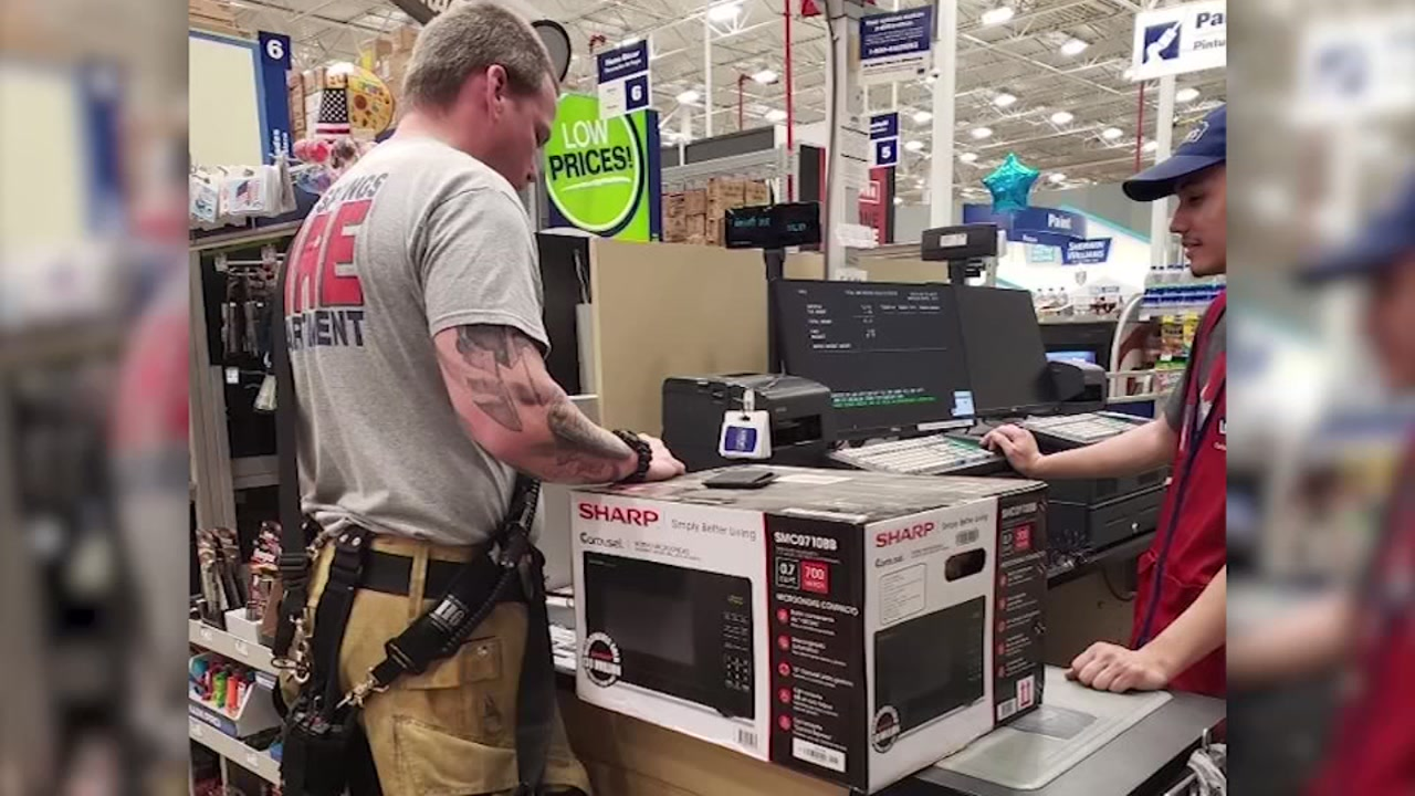 Firefighters buy microwave for elderly woman