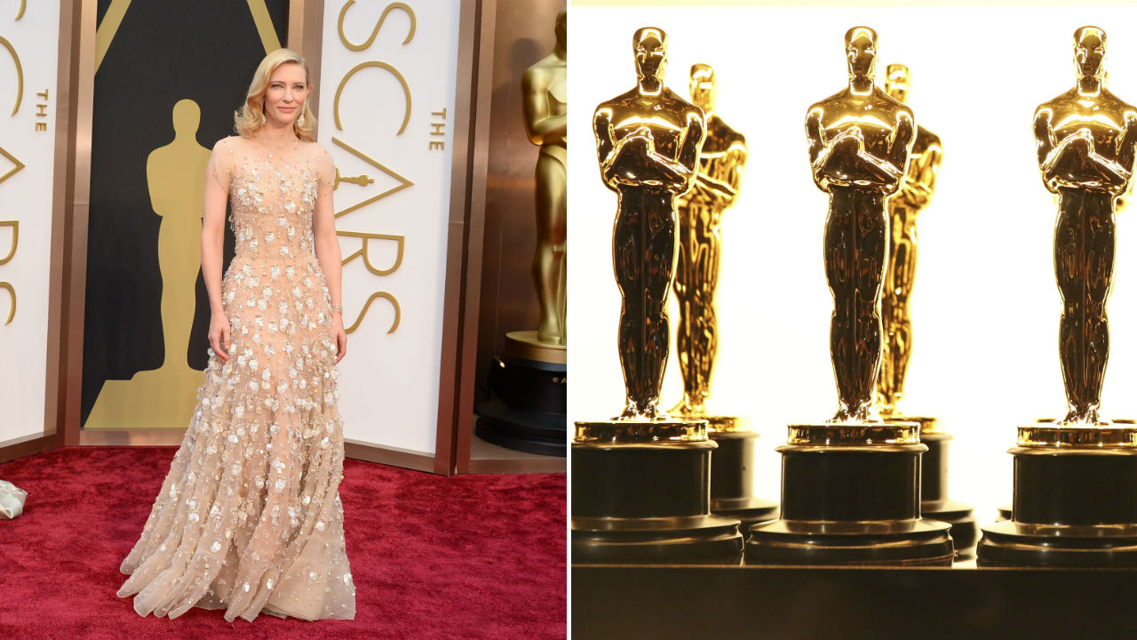 Cate Blanchetts 2014 Oscars ensemble and Oscar statuettes.