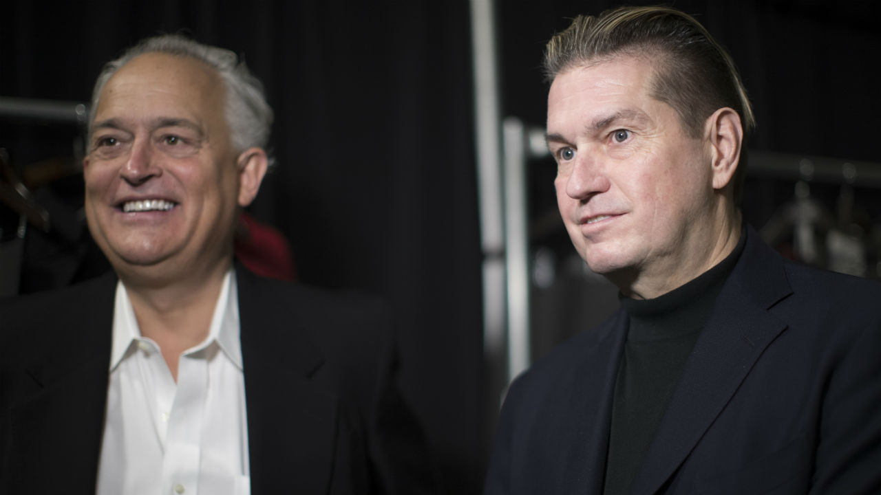 Designers Mark Badgley, right, and James Mischka backstage before their collection is modeled during New York Fashion Week, Thursday, Feb. 7, 2019. (AP Photo/Mary Altaffer)
