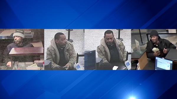 Surveillance images of the suspect in robberies on (from left to right ) Jan. 31, Jan. 16 and Feb. 11.