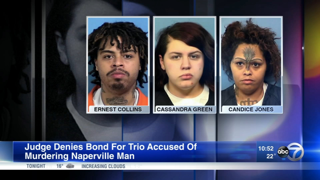 (Left to right) Ernest Collins, Cassandra Green and Candice Jones are charged in connection with the murder of Michael Armendariz, of Naperville.