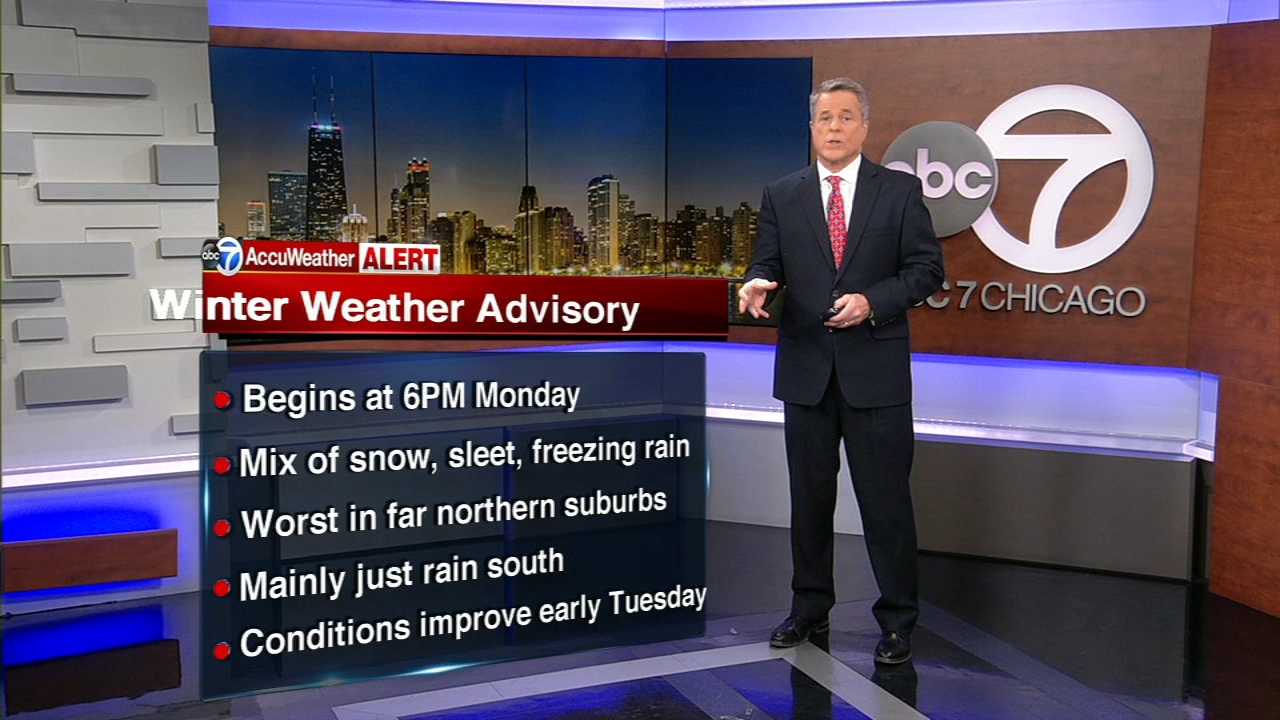 A Winter Weather Advisory was issued for Monday evening into Tuesday morning.