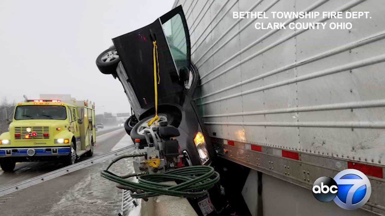 Heres something you dont see every day. When firefighters in Ohio responded to a recent crash on I-70, they found a car wedged between a concrete barrier and a semi trailer.