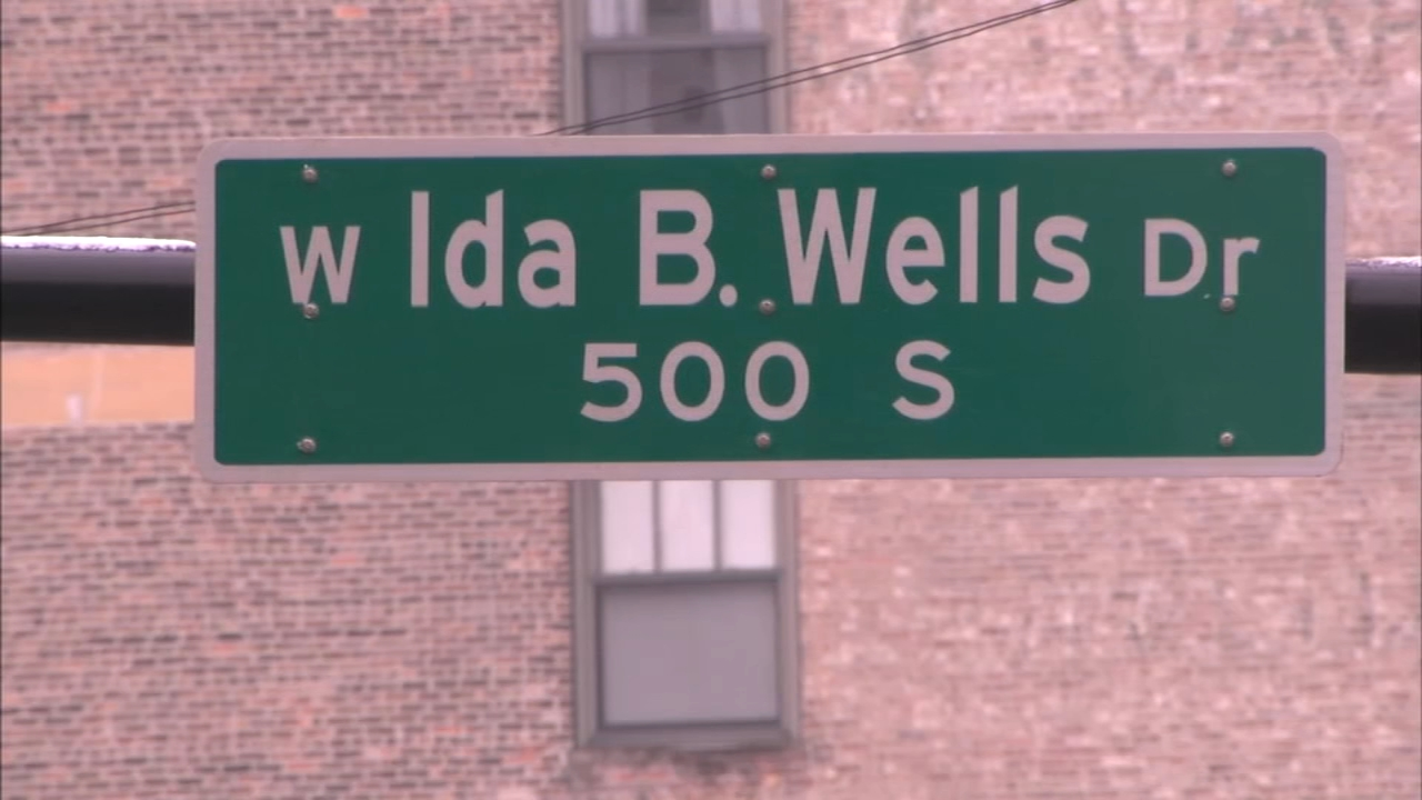 Congress Parkway had been rechristened Ida B. Wells Drive several months ago, but seeing the new street signs go up on the busy thoroughfare was still emotional for her descendants