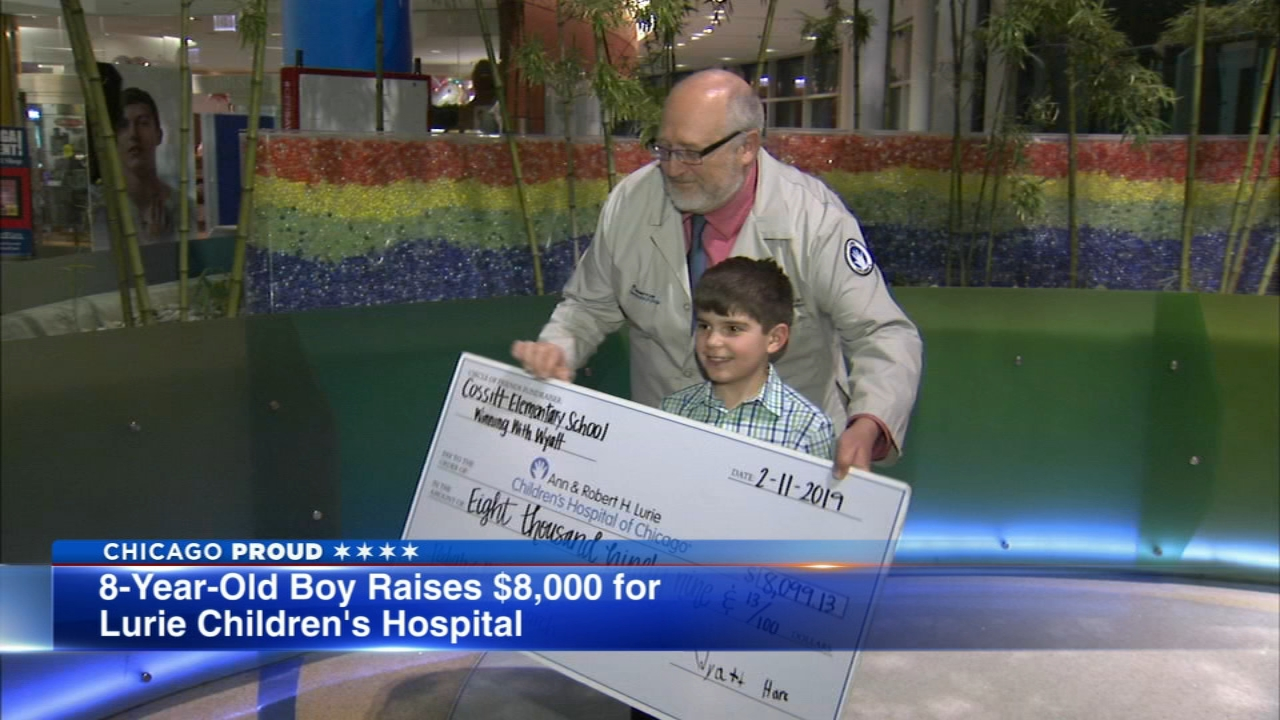 An 8-year-old boy made a big donation to Lurie Childrens Hospital Monday.