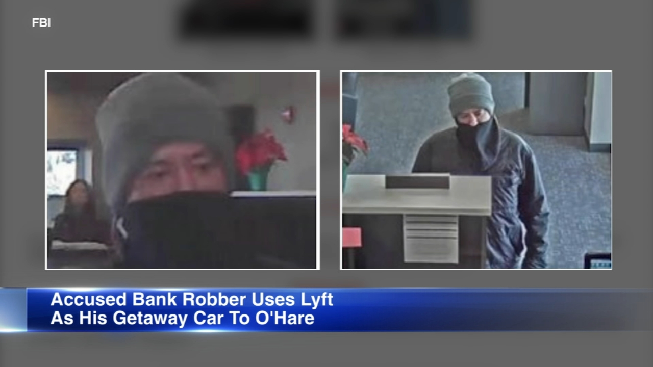 A man is accused of robbing several thousand dollars from the Ben Franklin Bank in Rolling Meadows on Feb. 9, 2019. (Photo courtesy of FBI)
