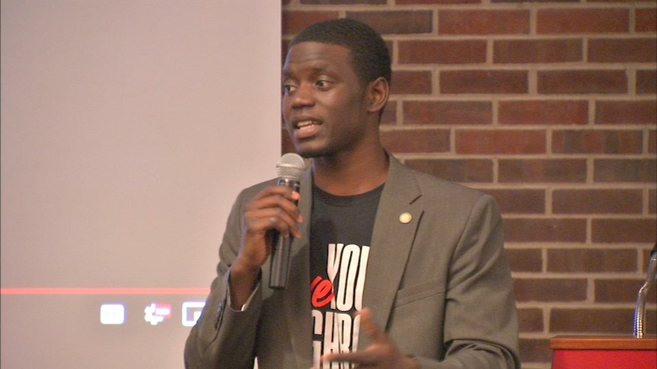 Chris Singleton, who plays baseball for the Cubs organization, spoke about racism and forigveness at Lewis University Monday. His mother was killed in the Charleston church shootin