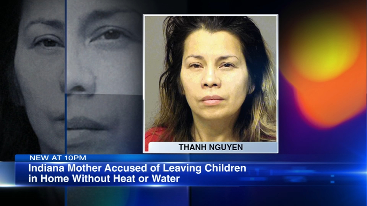 A Portage, Indiana, mother is accused of leaving her children alone in a mobile home without water or a working furnace.