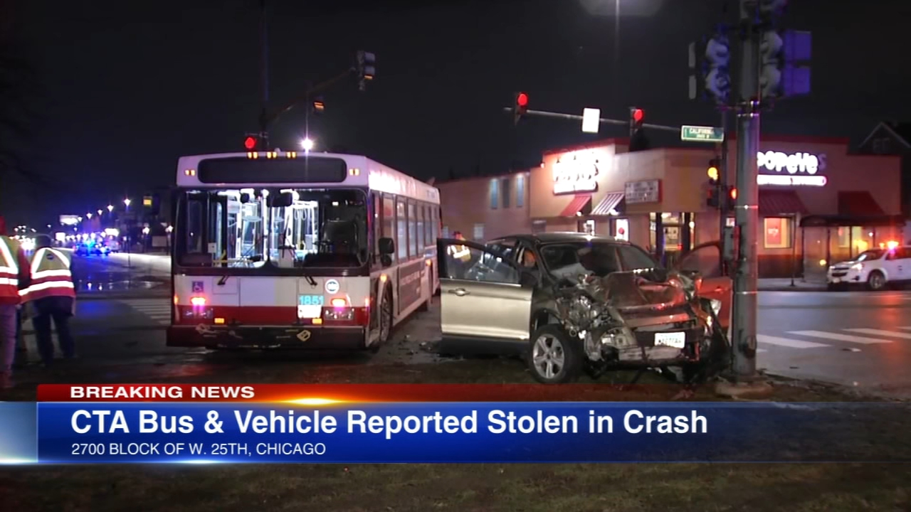 A bus driver was injured when a stolen vehicle crashed into a CTA bus Thursday evening while eluding police in the Pilsen neighborhood on the Southwest Side.