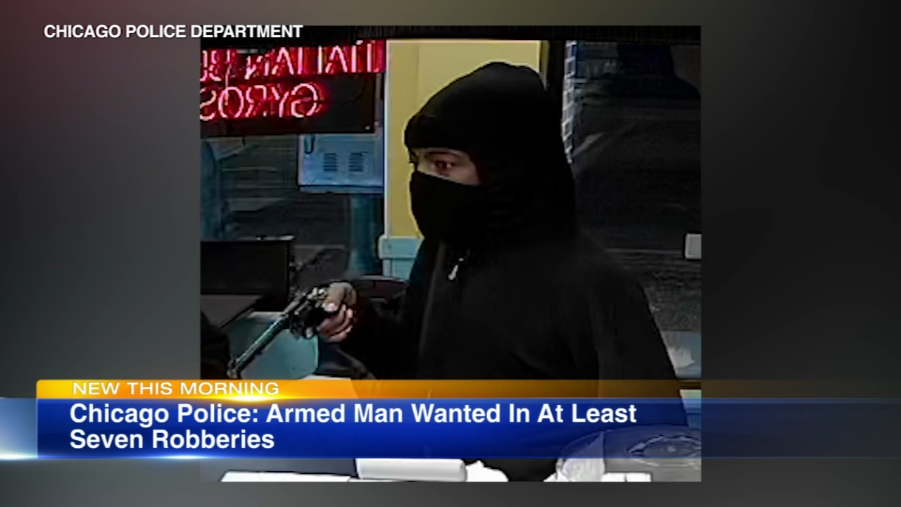 An armed robber is on the loose after hitting seven local businesses.